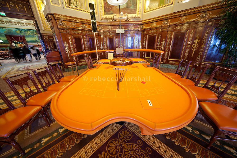 Roulette table in the Casino de Monte Carlo, Monte Carlo, Monaco, 21 March 2013