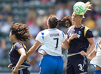 LA Sol's Allison Falk heads ball past Boston Breakers Christine Latham. The Boston Breakers and LA Sol played to a 0-0 draw at Home Depot Center stadium in Carson, California on Sunday May 10, 2009.   .