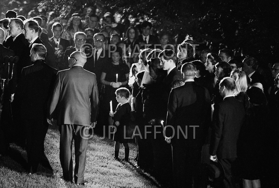 June 8th 1968, Arlington National Cemetery, Virginia<br /> The Kennedy family stands behind Robert F. Kennedy's youngest son at the funeral for Senator Kennedy at Arlington National Cemetery. Kennedy was assassinated by Sirhan Sirhan while campaigning for the presidency of the United States.