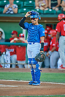 Ramon Rodriguez (7) of the Ogden Raptors during the game against the Orem Owlz at Lindquist Field on September 3, 2019 in Ogden, Utah. The Raptors defeated the Owlz 12-0. (Stephen Smith/Four Seam Images)