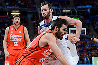 Real Madrid's Rudy Fernandez and Valencia Basket's Fernando San Emeterio during Quarter Finals match of 2017 King's Cup at Fernando Buesa Arena in Vitoria, Spain. February 19, 2017. (ALTERPHOTOS/BorjaB.Hojas)