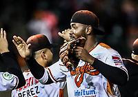 Domonic Brown de los naranjeros festeja triunfo.<br /> Naranjeros gana 4 carreras por 3, durante juego de beisbol de la Liga Mexicana del Pacifico temporada 2017 2018. Tercer juego de la serie de playoffs entre Mayos de Navojoa vs Naranjeros. 04Enero2018. (Foto: Luis Gutierrez /NortePhoto.com)