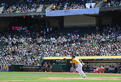 Hideki Matsui (Athletics), APRIL 3, 2011 - MLB : Hideki Matsui of the Oakland Athletics hits his 2,500th career hit during a game between the Seattle Mariners and the Oakland Athletics at Oakland-Alameda County Coliseum in Oakland, CA, USA. (Photo by AFLO).