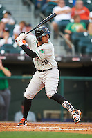 Norfolk Tides catcher Francisco Pena (29) at bat during a game against the Buffalo Bisons on July 18, 2016 at Coca-Cola Field in Buffalo, New York.  Norfolk defeated Buffalo 11-8.  (Mike Janes/Four Seam Images)