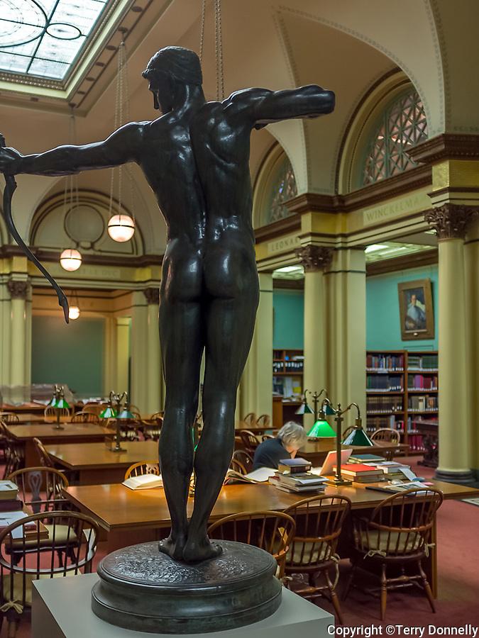 """Chicago, Illinois<br /> Art Institute of Chicago, view of the Franke Reading Room with sculpture """"Teucer"""" , William Hamo Thornycroft 1884"""