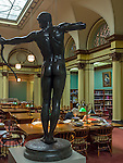 Chicago, Illinois<br /> Art Institute of Chicago, view of the Franke Reading Room with sculpture &quot;Teucer&quot; , William Hamo Thornycroft 1884