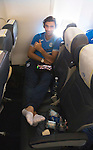 St Johnstone UEFA Cup Qualifyer, Armenia...30.06.15<br /> Simon Lappin realxes on the flight over to Armenia<br /> Picture by Graeme Hart.<br /> Copyright Perthshire Picture Agency<br /> Tel: 01738 623350  Mobile: 07990 594431