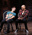 "Thayne Jasperson and Terrance Spencer during the eduHAM Q & A before The Rockefeller Foundation and The Gilder Lehrman Institute of American History sponsored High School student #EduHam matinee performance of ""Hamilton"" at the Richard Rodgers Theatre on November 20, 2019 in New York City."