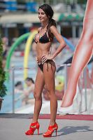 Alexandra Varga attends the Miss Bikini Hungary beauty contest held in Budapest, Hungary on August 06, 2011. ATTILA VOLGYI