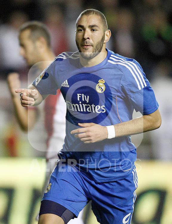 Real Madrid's Karim Benzema celebrates goal during La Liga match.November 22,2013. (ALTERPHOTOS/Acero)