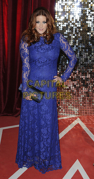 Bronagh Waugh.attended the British Soap Awards 2013, Media City, Salford, Manchester, England, UK, 18th May 2013..arrivals full length blue lace sheer long sleeve dress hand on hip clutch bag cobalt .CAP/CAN.©Can Nguyen/Capital Pictures.