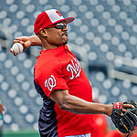 8 July 2017: Washington Nationals Assistant Hitting Coach Jacque Jones tosses some ball prior to a game against the Atlanta Braves at Nationals Park in Washington, DC. The Braves shut out the Nationals 13-0 to take the third game of their 4-game series. Mandatory Credit: Ed Wolfstein Photo *** RAW (NEF) Image File Available ***