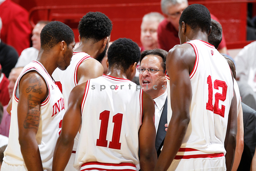 BLOOMINGTON, IN - JAUNARY 15: Head coach Tom Crean of the Indiana Hoosiers talks to his players during the game against the Wisconsin Badgers at Assembly Hall on January 15, 2013 in Bloomington, Indiana. Wisconsin defeated Indiana 64-59. Tom Crean