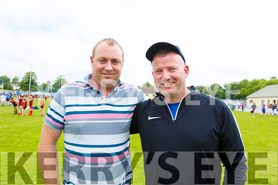 Edmond Glavin and Donal O'Connor of Rathmore, enjoying the Community GAA Football games in Na Gaeil on Monday.