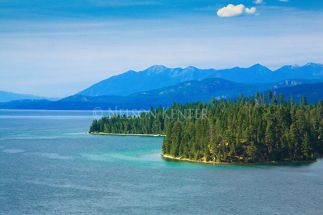 Flathead Lake shore line in western Montana