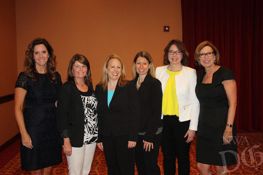 NWA Democrat-Gazette/CARIN SCHOPPMEYER Katie Holley (from left), Jody Pinson, Cassie Moore, Katie Berner, Linda Richards, Karen Stuckey attend Women's Day at the LPGA.