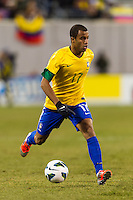 Lucas (17) of Brazil. Brazil (BRA) and Colombia (COL) played to a 1-1 tie during international friendly at MetLife Stadium in East Rutherford, NJ, on November 14, 2012.