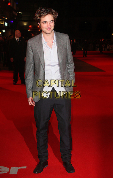"ROBERT PATTINSON.""Remember Me"" UK Film Premiere - Arrivals held at Odeon cinema, Leicester Square, London, England, UK,  .March 17th 2010.full length black grey gray jacket blazer blue shirt black trousers .CAP/FIN.©Steve Finn/Capital Pictures."