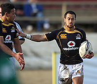 Wellington winger Alapati Leiua (left) congratulates Buxton Popoali'i on his second try during the Air NZ Cup preseason match between Manawatu Turbos and Wellington Lions at FMG Stadium, Palmerston North, New Zealand on Friday, 17 July 2009. Photo: Dave Lintott / lintottphoto.co.nz