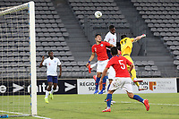 England's Marc Guehi heads the ball over the Chile goal during Chile Under-21 vs England Under-20, Tournoi Maurice Revello Football at Stade Parsemain on 7th June 2019