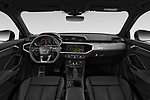 Stock photo of straight dashboard view of 2020 Audi Q3-Sportsback S-Line 5 Door SUV Dashboard