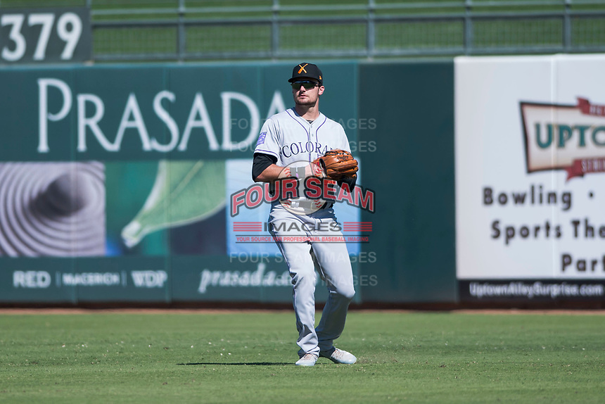 Salt River Rafters right fielder Sam Hilliard (14), of the Colorado Rockies organization, during an Arizona Fall League game against the Surprise Saguaros on October 9, 2018 at Surprise Stadium in Surprise, Arizona. The Rafters defeated the Saguaros 10-8. (Zachary Lucy/Four Seam Images)