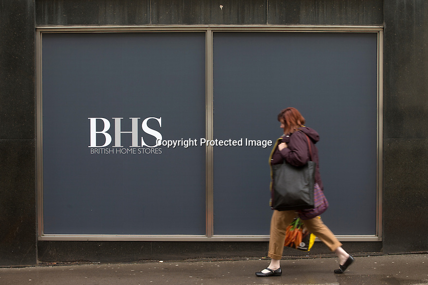 "24/04/16 <br /> <br /> BHS store in Stoke-on-Trent today.<br /> <br /> UK retailer BHS could file for administration as early as Monday, threatening 11,000 jobs. Sources close to the owners said that ""things don't look good"".<br /> Talks are continuing with Sports Direct to buy some of BHS's 164 stores but it is understood any buyer would only do so if it did not have to take on its £571m pension deficit.<br /> Last year BHS was sold by the entrepreneur Sir Philip Green for £1.<br /> He had bought it for £200m in 2000.<br /> Its new owners, Retail Acquisitions, said they would deliver £160m of funding to help turn around the fortunes of the chain, but have not been able to raise the sum.<br /> <br /> <br /> All Rights Reserved: F Stop Press Ltd. +44(0)1335 418365   +44 (0)7765 242650 www.fstoppress.com"