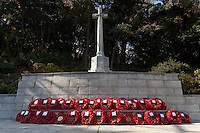 Poppy wreaths laid at the memorial during a ceremony for Remembrance Sunday at the Commonwealth War Graves Cemetery in Hodogaya, Yokohama, Japan. Sunday November 13th 2016. Each year representatives of the Commonwealth nations, along with American and other European nations that lost servicemen fighting the Japanese in World War 2, hold a multi-faith service of remembrance at this cemetery. This is the only cemetery for war dead in japan that is managed by the Commonwealth War Graves Commission.