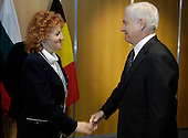 Seville, Spain - February 9, 2007 -- United States Secretary of Defense Robert Gates meets informally with Czech Republic Minister of Defense Vlasta Parkanova during the North Atlantic Treaty Organization (NATO) Defense Ministerial in Seville, Spain, February 9, 2007.  <br /> Credit: Cherie A. Thurlby-DoD via CNP