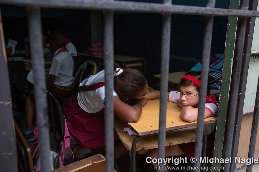 HAVANA, CUBA -- MARCH 25, 2015:   Girls attend school in Havana, Cuba on March 25, 2015. Photograph by Michael Nagle