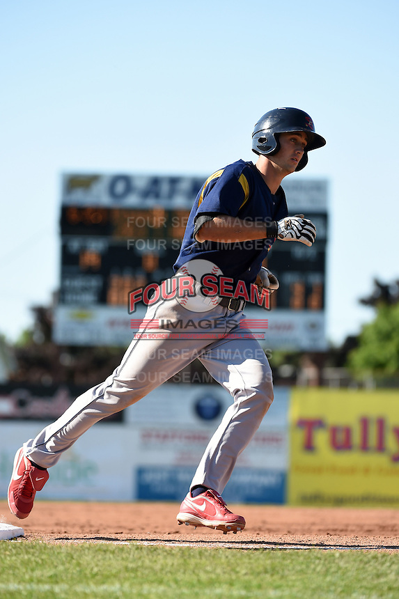 State College Spikes second baseman Danny Diekroeger (19) runs the bases after hitting a home run during a game against the Batavia Muckdogs on June 22, 2014 at Dwyer Stadium in Batavia, New York.  State College defeated Batavia 10-3.  (Mike Janes/Four Seam Images)