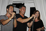 Ryan Carnes, Jeff Branson, Melissa Archer sing - Karoake and Bartending at La Tavola Restaurant and Bar where Actors from Y&R, General Hospital and Days donated their time to Southwest Florida 16th Annual SOAPFEST - a celebrity weekend May 22 thru May 25, 2015 benefitting the Arts for Kids and children with special needs and ITC - Island Theatre Co. on May 24, 2015. (Photos by Sue Coflin/Max Photos)