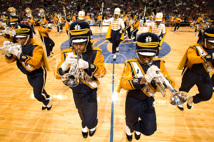 The Johnson C. Smith University performs at halftime during the CIAA Tournament  in Charlotte, NC.