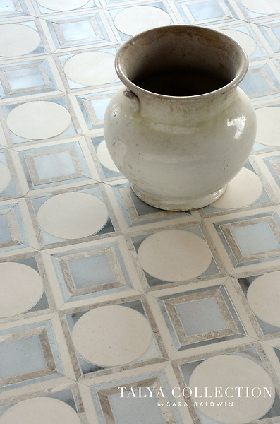 Cicero, a stone waterjet mosaic, is part of the Talya Collection by Sara Baldwin for Marble Systems.