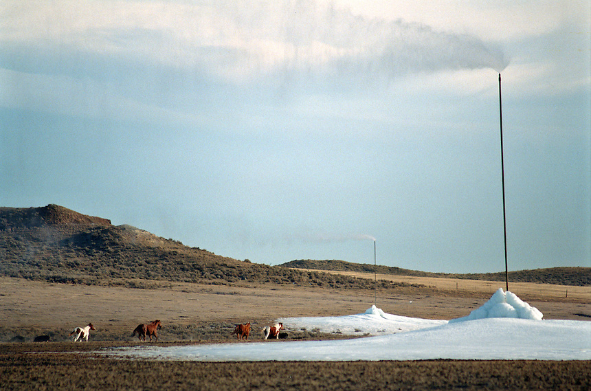 Horses gallop near two huge sprayers built to dispose of water from surrounding natural gas wells near Gillette, Wyo. White fields of ice build below the sprayers. A boom in coal bed methane extraction has raised controversy in property rights and environmental issues.