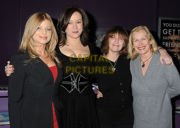 "DONNA D'ERICO, JENNIFER TILLY, AMANDA PLUMMER & CLAIRE FORDHAM.""The Making of Plus One"" Special Screening held at The Laemmle Monica 4-Plex, Santa Monica, California, USA, 2nd February 2011..half length black jacket red top grey gray .CAP/ADM/BP.©Byron Purvis/AdMedia/Capital Pictures."
