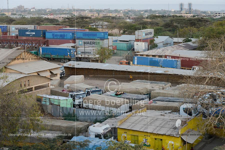ETHIOPIA , Dire Dawa, railway station, container terminal of old railway line Djibouti-Addis Ababa / AETHIOPIEN, Dire Dawa, Bahnhof und Umschlagplatz der alten Eisenbahnlinie Djibouti-Addis Abeba