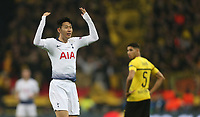 Tottenham Hotspur's Son Heung-Min celebrates scoring his side's first goal <br /> <br /> Photographer Rob Newell/CameraSport<br /> <br /> UEFA Champions League Round of 16 First Leg - Tottenham Hotspur v Borussia Dortmund - Wednesday 13th February 2019 - Wembley Stadium - London<br />  <br /> World Copyright © 2018 CameraSport. All rights reserved. 43 Linden Ave. Countesthorpe. Leicester. England. LE8 5PG - Tel: +44 (0) 116 277 4147 - admin@camerasport.com - www.camerasport.com