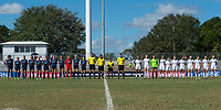 Sanford, FL - Saturday Oct. 14, 2017:  Teams and officials line up for the National Anthem during a US Soccer Girls' Development Academy match between Orlando Pride and NC Courage at Seminole Soccer Complex. The Courage defeated the Pride 3-1.