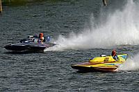"""Graham Coddington, GP-17 """"Midnight Miss"""" (1972 Lauterbach), Dave Richardson, GP-200 """"Lauterbach Special"""", (1976 Grand Prix class Lauterbach hydroplane)"""