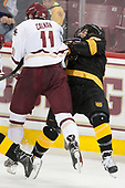 Chris Calnan (BC - 11), Alex Pernitsky (CC - 20) - The Boston College Eagles defeated the visiting Colorado College Tigers 4-1 on Friday, October 21, 2016, at Kelley Rink in Conte Forum in Chestnut Hill, Massachusetts.The Boston College Eagles defeated the visiting Colorado College Tiger 4-1 on Friday, October 21, 2016, at Kelley Rink in Conte Forum in Chestnut Hill, Massachusett.