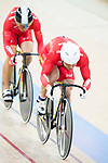 The team of China with Li Jianxin, Luo Yongjia and Xu Chao compete in Men's Team Sprint - Qualifying match as part of the 2017 UCI Track Cycling World Championships on 12 April 2017, in Hong Kong Velodrome, Hong Kong, China. Photo by Victor Fraile / Power Sport Images