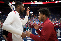 NWA Democrat-Gazette/CHARLIE KAIJO Arkansas Razorbacks forward Trey Thompson (1) play fights with Arkansas Razorbacks guard Anton Beard (31) during the Southeastern Conference Men's Basketball Tournament semifinals, Saturday, March 10, 2018 at Scottrade Center in St. Louis, Mo. The Tennessee Volunteers knocked off the Arkansas Razorbacks 84-66