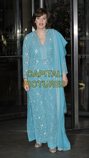 CHERIE BLAIR QC.The Asian Women of Achievement Awards, London Hilton Hotel, Park Lane, London, England..May 20th, 2009.full length blue silver gold turquoise dress sari floral print mouth open.CAP/CAN.©Can Nguyen/Capital Pictures.