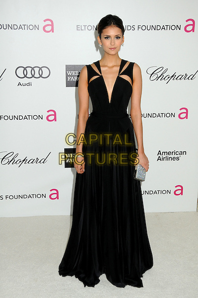 Nina Dobrev.20th Annual Elton John Academy Awards Viewing Party held at West Hollywood Park, West Hollywood, California, USA..February 26th, 2012.full length black sleeveless dress .CAP/ADM/BP.©Byron Purvis/AdMedia/Capital Pictures.