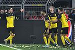 05.11.2019, Signal Iduna Park, Dortmund, GER, CL, Borussia Dortmund vs Inter Mailand<br /> , DFL regulations prohibit any use of photographs as image sequences and/or quasi-video <br /> <br /> im Bild Achraf Hakimi Mouh (#5, Borussia Dortmund) jubelt nach seinem Tor zum 3:2 mit Nico Schultz (#14, Borussia Dortmund) Julian Brandt (#19, Borussia Dortmund) Julian Weigl (#33, Borussia Dortmund) <br /> <br /> Foto © nordphoto/Mauelshagen
