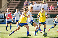 Seattle, Washington - Saturday, July 2nd, 2016: Seattle Reign FC midfielder Beverly Yanez (17) prior to a regular season National Women's Soccer League (NWSL) match between the Seattle Reign FC and the Boston Breakers at Memorial Stadium. Seattle won 2-0.