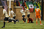 Steven Echevarria (15) celebrates after scoring the game winning goal in the second overtime period against the Clemson Tigers at Spry Soccer Stadium on September 29, 2017 in Winston-Salem, North Carolina.  The Demon Deacons defeated the Tigers 3-2 in 2OT.  (Brian Westerholt/Sports On Film)