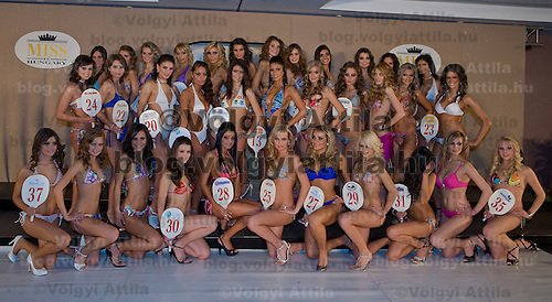 Participants of the Miss Hungary beauty contest pose during the final of the beauty pegant held in Budapest, Hungary. Saturday, 19. December 2009. ATTILA VOLGYI