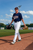 Elizabethton Twins left fielder Tyler Webb (30) walks to the dugout before a game against the Bristol Pirates on July 28, 2018 at Joe O'Brien Field in Elizabethton, Tennessee.  Elizabethton defeated Bristol 5-0.  (Mike Janes/Four Seam Images)